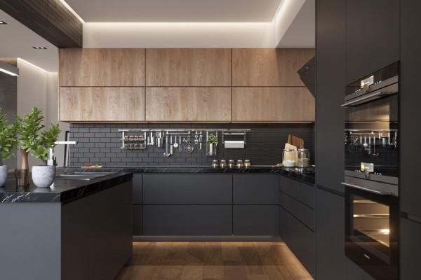 Nhà bếp căn hộ chung cư cao cấp