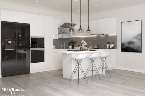 Tủ bếp màu trắng sang trọng